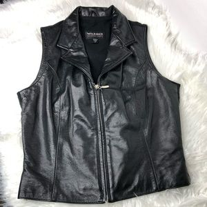 WILSONS The Leather Experts Zip Up Motorcycle Vest